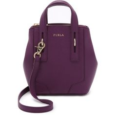 Furla Perla Mini Cross Body Tote (390 CAD) ❤ liked on Polyvore featuring bags, handbags, tote bags, aubergine, purple leather handbag, leather handbags, mini tote bag, leather purse and leather tote bags