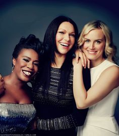 """Uzo """"Crazy Eyes"""" Aduba, Laura Prepon, and Taylor Schilling of Orange is the New Black. Great actresses, especially Aduba."""