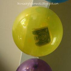 Money in a balloon -birthday fun for the birthday kid