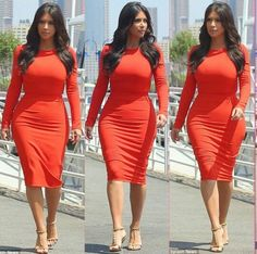 Kim in Kardashian Kollection and Tom Ford Sandals.