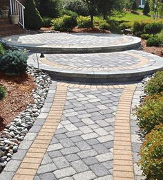 Front Walkway Ideas. like the design of step up area..for walkway to drive..*