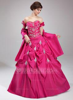 Corte de baile Escote corazón Vestido Tafetán Vestido de quinceañera con Bordado Volantes Bordado (021003148)