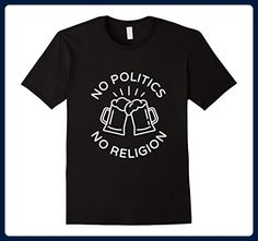 Mens No Politics, No Religion Beer T-Shirt Large Black - Food and drink shirts (*Amazon Partner-Link)