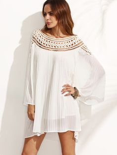 White Hollow Long Sleeve Shift Dress -SheIn