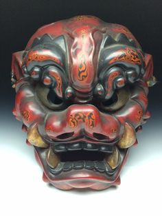 Japanese Handmade Oni Mask Noh Kyougen Kagura Demon Samurai Bugaku | eBay