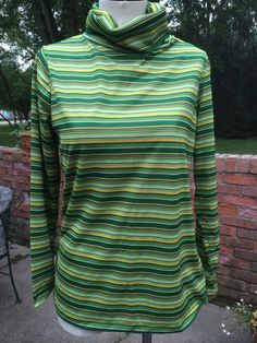 Vintage Green Striped Light Weight Turtleneck