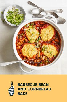 """With a cornbread crust made with whole grain cornmeal, this surprisingly easy vegan bean casserole is comfort food at its most nourishing. Serve it with a crunchy slaw whenever you're in the mood for a little barbecue flavor. Shopping tip: When choosing cornmeal, look for the words """"whole grain"""" on the package. Avoid """"degermed"""" or """"degerminated"""" cornmeal because once the germ has been removed, it's no longer a whole grain. Beans And Cornbread, Vegan Casserole, Loaded Baked Potatoes, Vegan Baking, Barbecue, Entrees, Mood, Dishes, Cooking"""