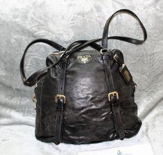 c1d6cc4e3 PRADA Black Leather Hobo Shoulder Bag Zipper Buckles Silver Tone Hardware  #PRADA #ShoulderBag Black