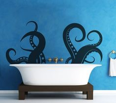 Be careful in the tub ;) Love this wall decal for the bathroom.