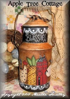 hand painted, vintage milk can