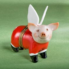 Authentic French Hand Painted Limoges Porcelain Santa Pig with Wings Box -- You can find out more details at the link of the image. (This is an affiliate link) Collectible Figurines, Small Boxes, Trinket Boxes, Home Decor Inspiration, Wings, Santa, Hand Painted, French, Christmas Ornaments
