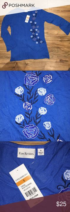 Kim Rogers Blue Floral Embroidered Blouse NWT, never worn.  Wrinkled from packaging.  Beautiful embroidering, just not my color. Kim Rogers Tops Blouses
