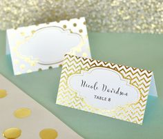 Gold Wedding Place Cards are perfect for decorating your reception tables and seating your guests! Place Cards come printed with shiny metallic gold or