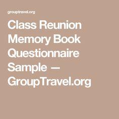 Class Reunion Memory Book Questionnaire Sample — GroupTravel.org