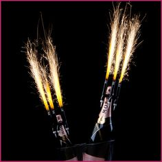 Gold bottle/cake sparklers are a great way to add decorations to wedding cakes or make an impression with your champagne toast bottles. Bottle Sparklers, Champagne Sparklers, Cake Sparklers, Sparkler Candles, Wedding Sparklers, Gold Bottles, Alcohol Bottles, Liquor Bottles, Bbq Lighter