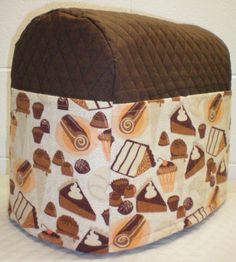 Chocolate Brown Quilted Desserts Theme Cover for 4.5 and 5qt Kitchenaid Tilt Head Stand Mixer w/6 Pockets