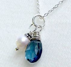 Spectacular Topaz and pearl necklace Sterling by EvasJewellery, $34.99 c bday