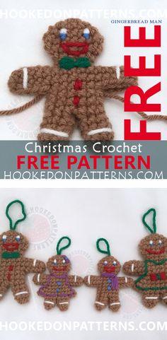 Free Gingerbread Man Crochet Pattern - This is a fun beginners level crochet pattern. A great Christmas crochet pattern. Crochet for the Christmas Tree. Enjoy!