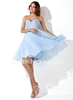 Empire-Linie Herzausschnitt Knielang Chiffon Abiballkleider mit mit Perlen verziert (022020904) - JenJenHouse