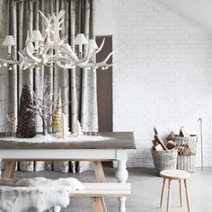 Bench with chandelier and Scandinavian centrepiece