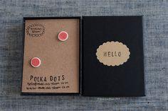 "Coral pink glazed porcelain mini ""POLKA DOTS"" stud earrings by TenaciousBloom on Etsy"