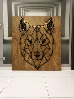 #doityourself #wolf #wild #animals #stringart Weaving Art, Wild Animals, Sticks, Maps, Wolf, Tapestry, Handmade, Pictures, Diy