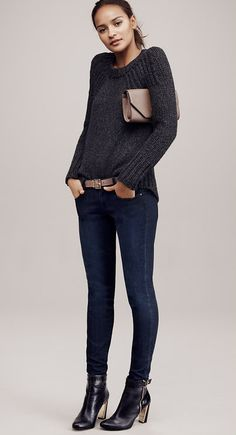 Keep denim cozy with a sweater and heeled boots. Perfect for a movie night with the girls.