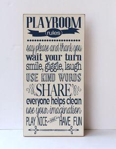 Playroom Rules Wood Sign Playroom Decor Child S Room Decor Home Decor Wooden Sign Rules For Playtime Custom Colors