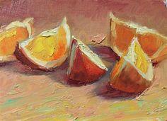 Original oil painting by John Kelley - 5 Oranges, 5x7 oil on panel