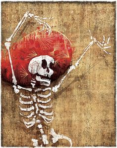 Day of the Dead's Danse Macabre is a digital print reproduced from original mixed media artwork by Jeff Mitchell on heavyweight satin coated paper. Signed and dated by the artist.