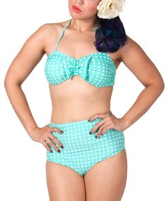 Another great find on #zulily! Mint & White Polka Dot Bikini - Women & Plus by Tatyana #zulilyfinds