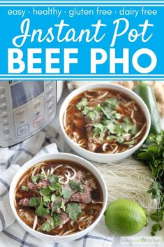 Skip the takeout and make Instant Pot Beef Pho at home. The pressure cooker saves you hours so you can have comforting, spicy soup ready in under an hour. Pho Recipe Easy, Instant Pot Pho Recipe, Instant Pot Dinner Recipes, Chicken Soup Recipes, Beef Recipes, Cooking Recipes, Healthy Recipes, Lunch Recipes, Pressure Cooker Chicken
