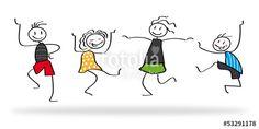 Vektor: Freude, Strichmännchen, Freunde, Tanzen, Kinder