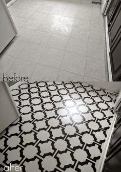 "DIY Painted Vinyl Floors: Turn gross, dated sheet vinyl into durable, stunning ""tile"" fo. Diy Flooring, Diy Vinyl, Painted Floors, Painting Tile, Painted Vinyl Floors, Cheap Diy, Diy Painting, Flooring, Diamond Tile Floor"