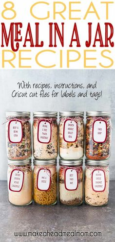 Give the gift of delicious food storage this holiday season! Each jar makes enough food for at least 6 servings! They are shelf-stable and can be stored for years! No more boring food storage, or wond Make Ahead Meals, Freezer Meals, Quick Meals, Easy Dinners, Frugal Meals, Mason Jar Meals, Meals In A Jar, Mason Jar Recipes, Mason Jars