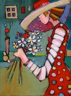 Women Who Love Flowers V by Genevieve Pfeiffer