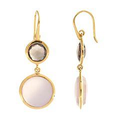 Buy John Lewis Gemstones Double Drop Rose and Smokey Quartz Hook Earrings, Pink online at JohnLewis.com - John Lewis