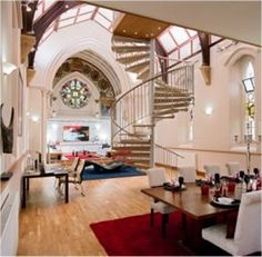A close-up of the interior. Love old churches converted to homes ...
