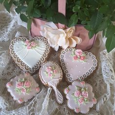Pretty in pink hearts and dresser set cookies by Teri Pringle Wood