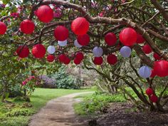 Outdoor lanterns during daylight at Belsay Hall Quarry Garden