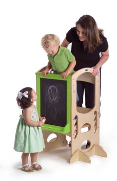 "Apple Green Art Easel- ""Mom & me & little brother too!"""