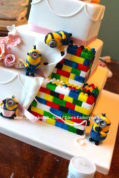 Minion and Lego themed wedding cake