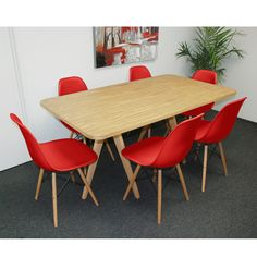 Mod Natural Twin Tower 7-Piece Dining Set ((1) Natural Table and (6) Red Chairs), Size 7-Piece Sets