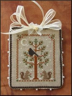 Woodland Snowfall by LHN (JCS Ornaments issue 2004) 30 count linen with DMC threads Stitched by    Leena
