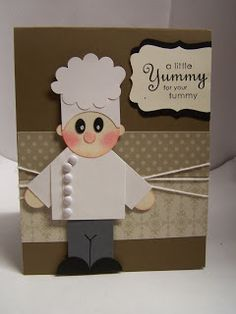 Stampin' Up! Chef Punch Art by Bonnie's Creative Place adorable Paper Punch Art, Punch Art Cards, Tarjetas Diy, Karten Diy, Craft Punches, Kids Cards, Baby Cards, Cute Cards, Creative Cards