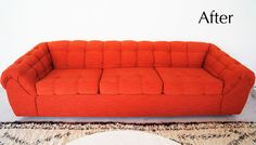 """bright reupholstered statement piece sofa, cross between Ligne Roset's """"Togo"""" sofa and a classic Chesterfield. #tangerinetango #thebrickhouse"""