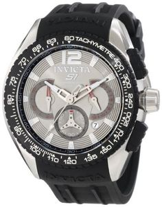 Invicta Men's 1850 S1 Chronograph Grey Dial Black Polyurethane Watch Invicta. $83.93. Grey dial with silver tone hands, hour markers and arabic numeral 12; luminous; black rubber pushers and bezel with tachymeter scale. Japanese quartz movement. Water-resistant to 100 M (330 feet). Chronograph functions with 60 second, 60 minute and 24 hour subdials with silver tone and red hands; date function. Flame-fusion crystal; polished and brushed stainless steel case; black poly...