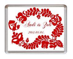 Műanyag alapú, fényképes hűtőmágnes esküvői köszönetajándék, násznépnek köszönő ajándék, vendégajándék esküvőre