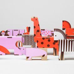 Die cut cardboard 3D animal shapes