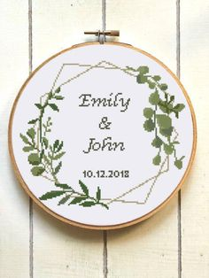 Geometric wedding record counted cross stitch pattern floral | Etsy